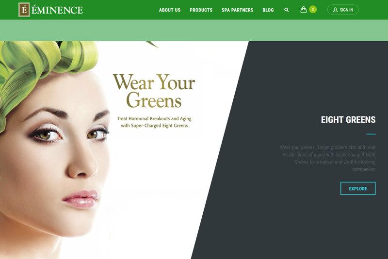 Eminence Organics ecommerce site